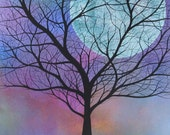 Original Acrylic Painting on Stretched Canvas. 11 x 14 inches. Tree & Blue Moon, Spring - Michael Francis Brown