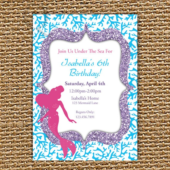 Mermaid Invitation, Mermaid Birthday, Mermaid Party, Little Mermaid, Under the Sea, Birthday Invitation, Mermaid Invite, Printable