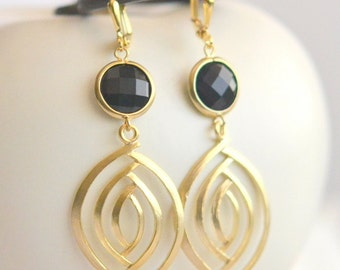 Black and Gold Dangle Earrings. Statement Earrings. Jewelry. Drop Earrings. Dangle Earrings. Gift. Valentines. Gift. Anniversary Gift.