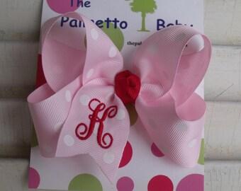 Valentine Monogrammed  Hair Bow  Pink with White Polka Dot Grosgrain Ribbon