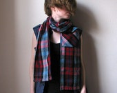 Shoulder Shirt - Garage Plaid blend with one pocket - unisex scarf upcycled from flannel shirt