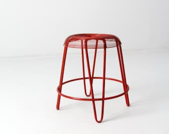 mid-century wire stool, red metal stool