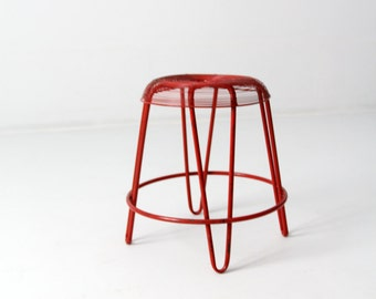 FREE SHIP  mid-century wire stool, red metal stool