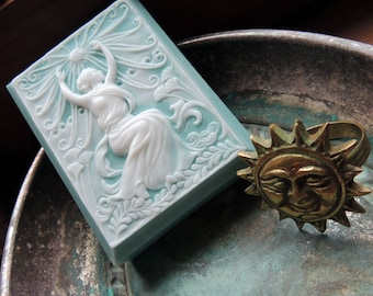 Summer goddess soap, Art Nouveau, Beach Teal & White - Beach Decor Soap, Decorative Soap, Hostess Gift, Beach Soap