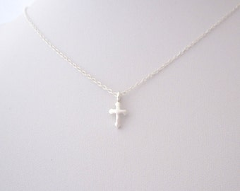 Small Religious CROSS sterling silver charm with necklace, religious minimalistic jewelry