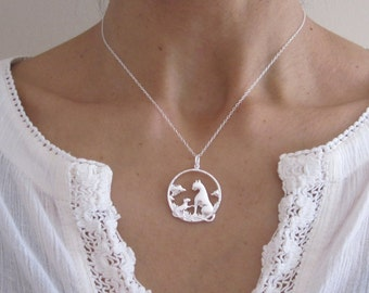Two CATS Mother/Father and child sterling silver necklace, Love necklace, family cats jewelry