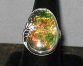 Lannyte Opal, Rare, Lab Grown, Sterling Silver, Size 8 3/4, ON SALE