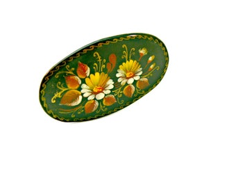 Hand Painted Lacquer Brooch - Signed - Made in USSR - Vintage Khokhloma Folk Art - Brown Floral Pin