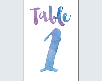 Water Color Table Numbers -Blue/Purple
