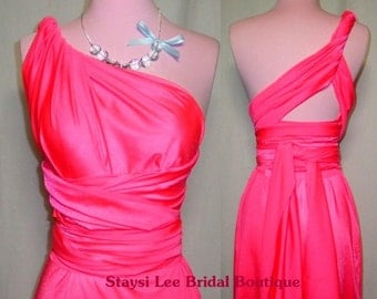 Neon Pink Convertible Dress...Bridesmaids, Date Night, Cocktail Party, Prom, Special Occasion, Beach, Vacation