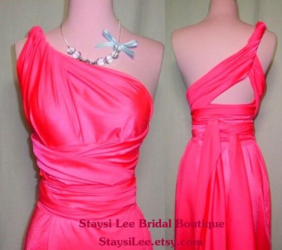 Neon Pink Convertible Dress...Bridesmaids Date Night