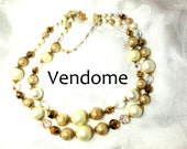 Vintage necklace double strand VENDOME Pearls gold AB Crystal Fashion Recycle Retro 60s Glamour SALE