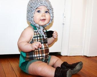 PLAID TODDLER ROMPER hipster onesie baby kid fall/winter spring/summer halter girls 12-18-24 mo
