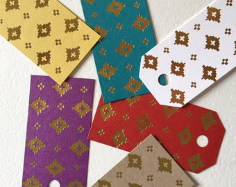 Gold Patterned / Foiled Gift Tags / Set of Six