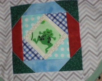 Baby Bib, Pieced and Quilted, Boy Colors, and Frogs, Ready to Ship