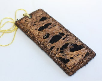 Embroidery pendant fiber steampunk necklace black copper rust textured necklace textile costume jewellery