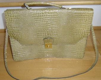 Vintage Briefcase - Green Faux Alligator Briefcase, Detachable Strap,  2 Zippered Inside Pockets, Back Slot, Women's Messenger Bag