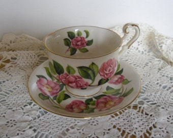 Vintage Cup and Saucer - Royal Standard Bone China, Pink Roses, Gold Trim, Made in England, Shower Gift, Mother's Day