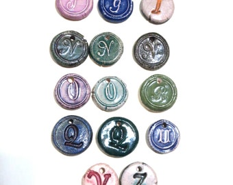 Wax Seal Stamp Letter Initial Charms - Handmade Glazed Clay Porcelain 14 Pieces 20mm Pendants