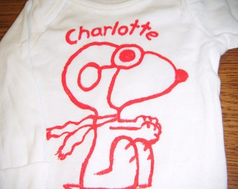 Handpainted Snoopy Bodysuit  - Free Personalization