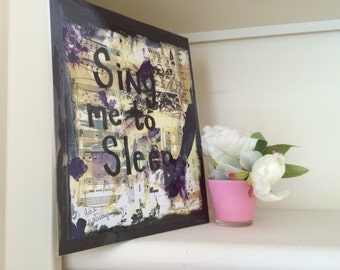 Music art painting book Sing Me to Sleep singer musician gift Original Mixed Media Collage Print Home Girl's Room Decor PRINT