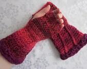 Item of the Week 50% off SALE Berry Spiral Fingerless Gloves, Arm Warmers, Crochet Red, Orange Tonal Tweed Acrylic Yarn with Fuchsia Ruffle