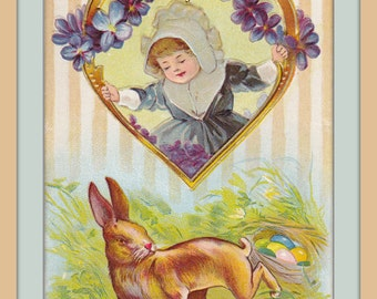 Easter Rabbit's Nest- 1900s Antique Postcard- Art Card- Bunny Eggs- Spring Decor- Edwardian Violets- Pilgrim Girl-  Paper Ephemera