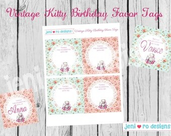 Vintage Kitty Party Printable Favor Tags