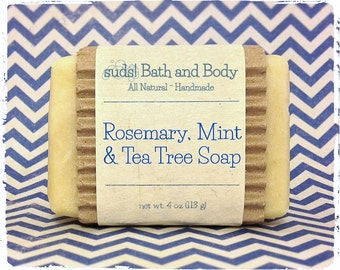 Rosemary, Mint & Tea Tree Soap - All Natural Soap, Handmade Soap, Vegan Soap, Essential Oil Soap
