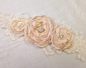 Champagne Blush & Ivory Bridal or Maternity Lace Floral Rosette Sash
