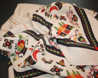 Vintage 1980s Pennsylvania Dutch Linen Tablecloth and Tea Towel Red Green Black Figural Signed