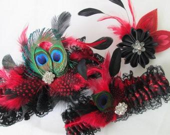 Red & Black Lace Bridal Garter Set, Kanzashi Bridal Hair Flower Fascinator, Peacock Garters, Harlequin / Burlesque Wedding