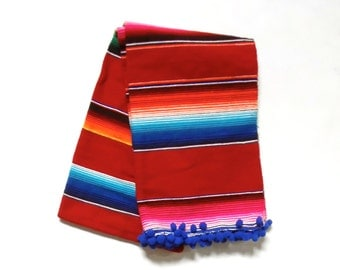 Luxury Glamper Pom Medium Serape Mexican Cinco de Mayo Striped Throw Picnic Blanket, Red/Royal Blue