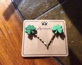 St. Patricks Day Shamrock handmade bobby pins on presentation card for unique gifts