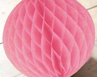 Pink  Honeycomb Balls in 3 Sizes Weddings. summer parties. Bridal Showers Birthdays.Pink Honeycomb Balls