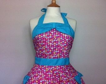 Retro apron circular skirt with bow, multi colour floral apron, 1950s inspired, fully lined.