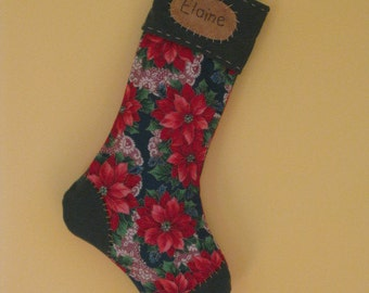 Personalized Christmas Stocking - Poinsettia Floral Print - Country Primitive - Green Cuff,Toe and  Heel - Poinsettia Christmas Stocking