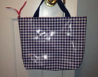 Large Oilcloth Waterproof Cosmetic Bag/ Makeup Bag/ Camp Bag/ Travel Bag/ Dorm Bag/ Wet Bag with Handles in Navy Gingham and Red Toile
