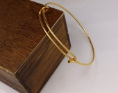 New year sale-100 pcs fabulous gold plated adjustable  basic bangles wired bracelet findings-F1178