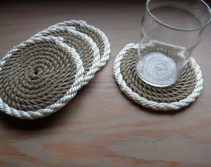 Set of 4 Rope Coasters Nautical Decor Natural with White Trim Beach Island Coastal decor