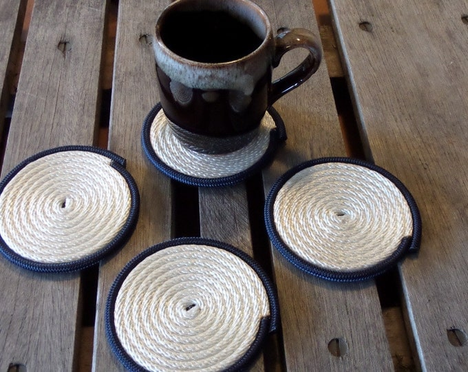 Nautical Decor Coasters Set of 4 White with Navy Trim Coastal Beach Rope Coasters