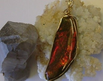 Very Large, Bright Red to Orange Fire Ammolite from Utah Deposit Gold Filled Wire Wrap Pendant 345