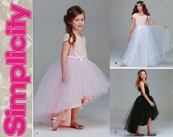 Girls Tulle Skirt Pattern Uncut Simplicity 1122 Special Occasion Flower Girl Wedding Party Dress Tutu Ballerina Childrens Sewing Pattern