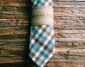 Skinny Tie || Pebble Plaid