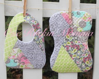 8x12 ( 200mm x 300mm) Quilted Patchwork Bib - Burp Cloth In The Hoop Embroidery Design - INSTANT DOWNLOAD