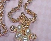 Vintage Baroque Pearl and Gold Rope Necklace - N-272 - Pearl Necklace - Gold Necklace - Gold Rope Necklace - Pearl Rope Necklace