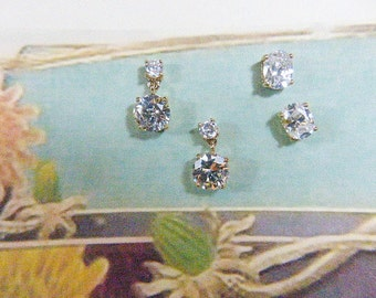 TWO PAIRS of Vintage Rhinestone Stud Pierced Earrings - V-EAR-439 - Dangling Rhinestone Stud Earrings - Rhinestone Oblong Studs