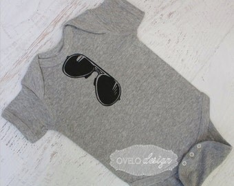 Aviator Sunglasses THE ORIGINAL Mirror Style Bodysuit pictured in Heather Grey