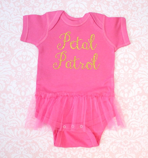 Petal Patrol Flower Girl Ballerina Bodysuit with Tutu Printed in Glitter Pick your Colors