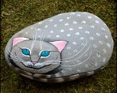 Reserved listing for Becky - Cheshire cat, hand painted rock paper weight, home decor